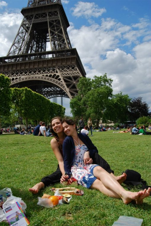 Paris, France. Picnic under the Eiffel Tower and snuggles with the beautiful Sarah.
