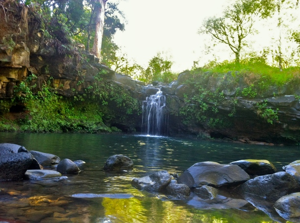 Crystal clear waterfall and swimming hole at Twin Falls, Maui